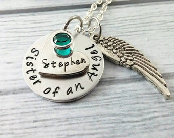 Sister Of An Angel Necklace~ Memorial Jewelry~ Funeral Gift~ Loss of Brother~ Loss of Sister~ Custom Name~ Angel Wing Jewelry