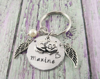 Handstamped Cat Memorial Keychain ~ Cat Lover Gifts~ Cat Remembrance ~ Cat Loss Gifts~ Pet Loss