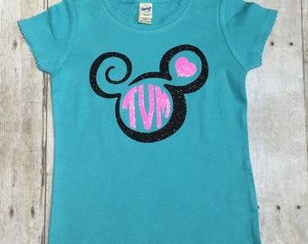 Girls Monogrammed Minnie Head/Personalized Disney Shirt
