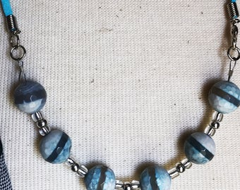 Gifts for Her, Turquoise Suede and Bead Necklace and Earring Set
