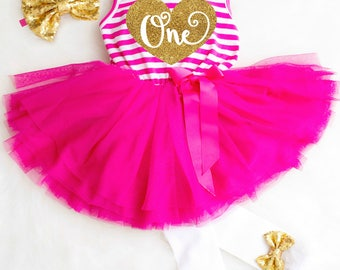 1st Birthday Girl Outfit First Birthday Dress Pink Birthday Tutu Dress Pink and Gold 1st Birthday Outfit Girl One Year Old Birthday Outfit