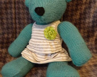 Knitted Teddy Bear- Teal