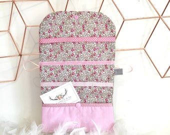 Pocket barrettes customizable linen and liberty of London Eloise pink