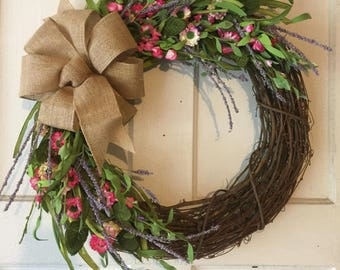 Field Of Wildflowers Grapevine Wreath With Burlap Bow