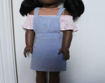Light Wash Denim Pinafor Dress for Dolls - Fits American Girl Doll