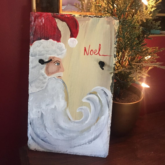 Santa painted slate wall hanging, Santa Claus slate, Christmas decoration, Christmas Door hanger, Outdoor Christmas decor, Santa Art
