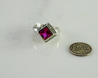 Pink Stone Marcasite Sterling Ring Size 7.75
