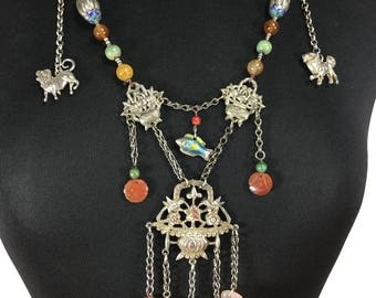 Mandarin Court Charm Necklace 900 Silver. Qing Dynasty. Rare Museum Quality Piece.