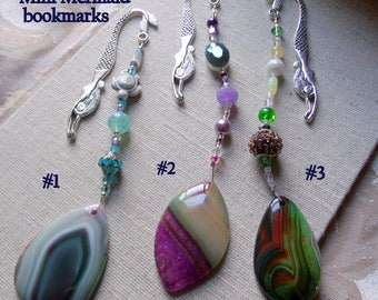 Gemstone bookmark - teardrop purple green agate - page marker - teen book worm gift - mini mermaid bookmark - book club gift - Lizporiginals