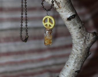 Citrine Vial Peace Sign Necklace, Peace Sign Necklace, Crystal Vial Necklace