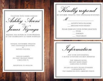 Classic wedding invitation | wedding invite | formal wedding invitation | custom