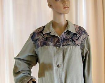 1980's LL Bean Tapestry and Sage Green Canvas Chore Jacket, Women's Medium, Tapestry, Sage Green, Cotton Canvas, Chore, Coat, Jacket, Bean
