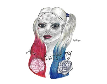 Harley Quinn Pen & Ink Pointillism Illustration - Fine Art Print of Margot Robbie as Harley Quinn Colour Ink Drawing, Traditional Art, DC