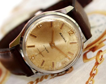 SWISS MEN'S WATCH-Anima-17jewels-rubis-1950s, Wrist Watch, Mechanical Watch, Leather Watch, Swiss made Men's Watch, Men's Vintage Watch,Rare