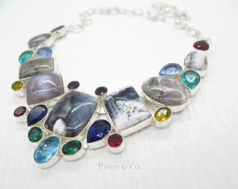 Dendritic Agate Emerald Quartz Blue Topaz Citrine Sterling Silver Necklace