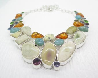 Elegant Jasper Amber Blue Topaz chalcedony Sterling Silver Necklace