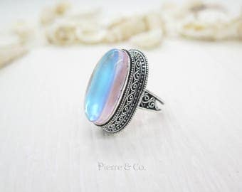 Antique Opal Quartz Sterling Silver Ring (Size 9)