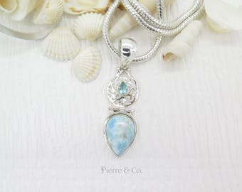 Filigree Larimar and Blue Topaz Sterling Silver Pendant and Chain