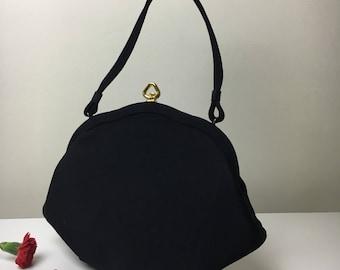 40's Classic Black Handbag
