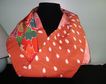 Patchwork Boro Silk Infinity Fall Scarf with Light and Dark Oranges and Tan Leaf Patterns, Geometrics and Shibori Patterns