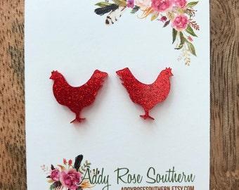 Chicken stud earrings, show animals, show animal earrings, FFA jewelry