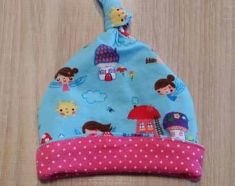 Baby fairies and polka dots printed Jersey Hat pink.