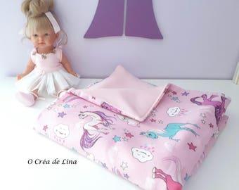 Child blanket, plaid girl pink UNICORNS.