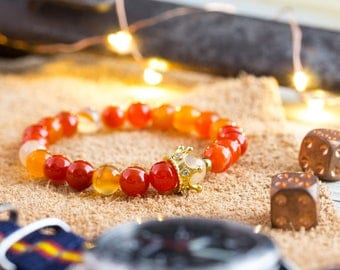 8mm - The Orange King - Orange agate beaded stretchy bracelet with gold micro pave crown, womens bead bracelet, mens beaded bracelet