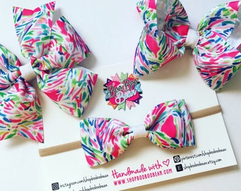 Palm Reader, Lilly Pulitzer Inspired Hair Bow, Lilly Pulitzer Bow, Headband, Lilly Bow, Lilly Pulitzer Inspired Ribbon, Buy 5 Get 1 Free