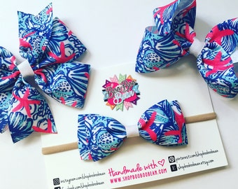 She She Shell, Lilly Pulitzer Inspired Hair Bow, Lilly Pulitzer Bow, Headband, Lilly Bow, Lilly Pulitzer Inspired Ribbon, Buy 5 Get 1 Free