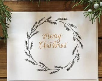 Merry Christmas Wreath//Greeting Card