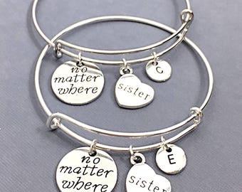 Sister Bangle Bracelet, Sister Charm Jewelry, Gift for Sister, Sister Friends, Bracelet set of 2, Personalized, Custom, Sister BFF, Friends