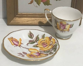 Queen Anne  Tea Cup and Saucer, Yellow Rose Teacup and Saucer Collectible, Fine China, Vintage Home Decor, Garden Tea Party