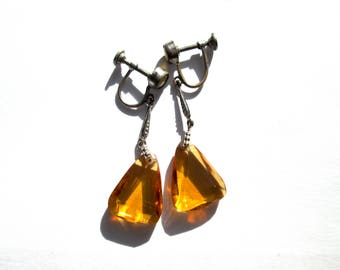 Vintage Czech Glass Art Deco Citrine Yellow Topaz Amber Colored Triangular Drop Screw Back Silver Tone Made In Czechoslovakia