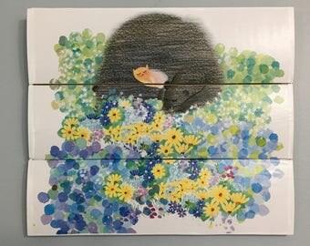 Field mouse cartoon wooden wall decor