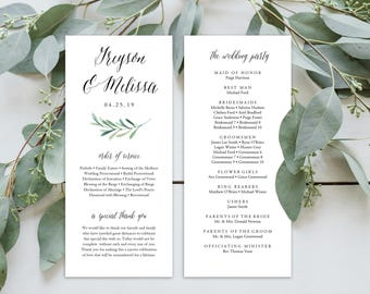 Wedding Program Editable Template | Program Printable, Ceremony Printable |Floral Branch | 4x9"
