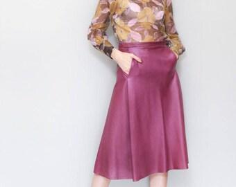 Vintage 1970's Soft Purple Leather A Line Midi Skirt