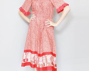 Vintage 1970's Stunning Red Floral Ruffle Midi Dress