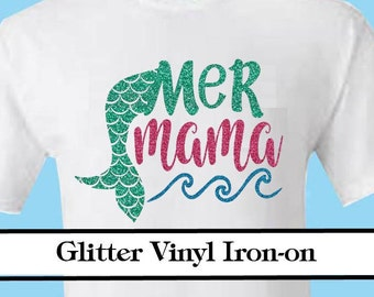 Mer Mama with tail- Adult iron on decal transfer Mermama