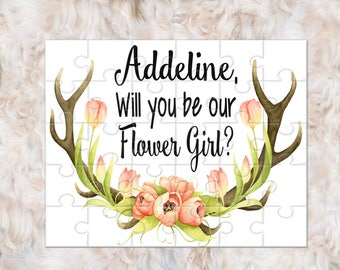 Flower Girl Proposal Gift, Flower Girl Puzzle, Will You Be My Flower Girl, Flower Girl Gift, Antler Wedding