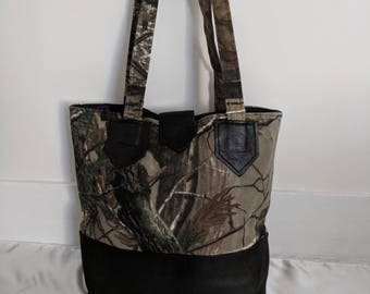 Camo handbag, tote bag, with brown leather bottom and accents