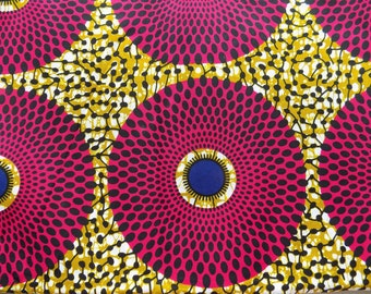 Pink African Print Fabric - Fabric by Yard - African Clothing - Ankara Fabric - African Print Fabric - Spiral Wall Fabric - African Headwrap