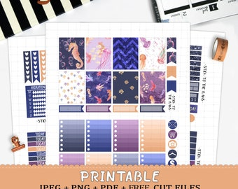 Ocean printable planner stickers for Erin Condren Life Planner TM watercolor sea creatures seahorse fish jellyfish bubbles seashells weekly