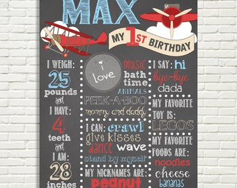 "Airplane Theme First Birthday Chalkboard Sign 16x20"" Poster, 1st Birthday, Vintage Airplanes, Clouds, Red, Blue * Digital File ONLY"