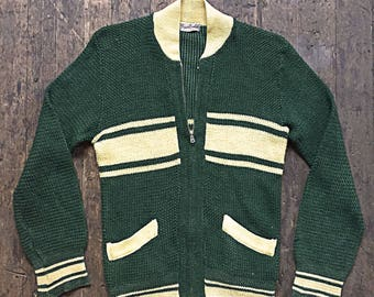 Vintage 1950s two tone center zip knit cardigan