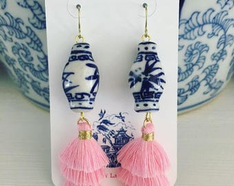LIGHT PINK Mini Stacked Tassel Earrings | Chinoiserie, blue and white, ginger jar, gold, dangle, layered, tiered, Designs by Laurel Leigh