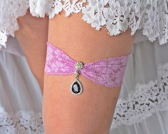 Wedding Garter Set, Garter Purple, Lavender Garter, Wedding Garters, Purple Garter, Rhinestone Garter, Lilac Garter Set, Purple Wedding Gift