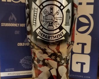 Personalized American Flag Firefighter  30oz Hogg Tumbler