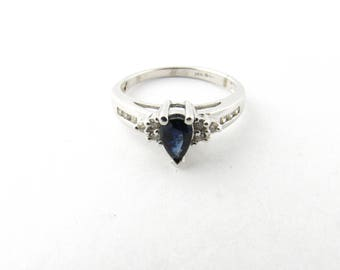 Vintage 14 Karat White Gold Sapphire and Diamond Ring Size 6.75 #3059