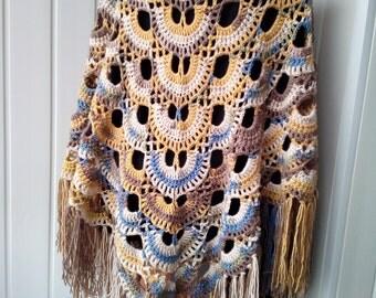 Shawl, Crochet  shawl, Handmade, Boho style, Warm shawl, Openwork shawl, Shawl triangular, A gift for her,  Ready for shipping.